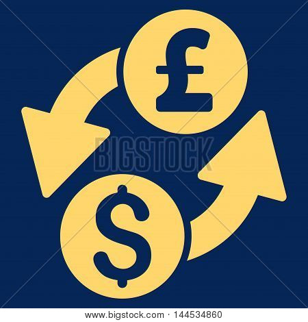 Dollar Pound Exchange icon. Vector style is flat iconic symbol with rounded angles, yellow color, blue background.