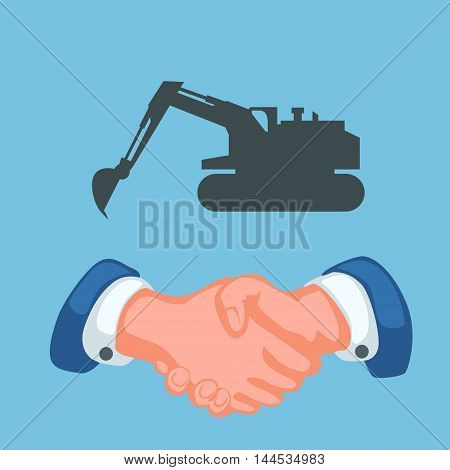 illustration of handshaking and tractor silhouette on blue background