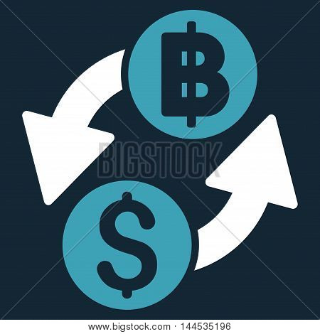Dollar Baht Exchange icon. Vector style is bicolor flat iconic symbol with rounded angles, blue and white colors, dark blue background.
