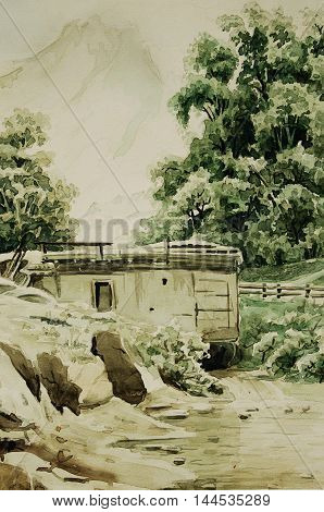 Watercolor painting in vintage style mountains and shack.