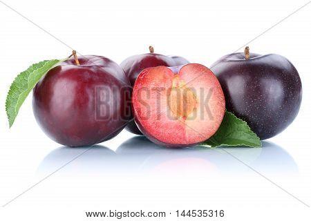 Plums Plum Slice Blue Fresh Fruits Fruit Isolated On White