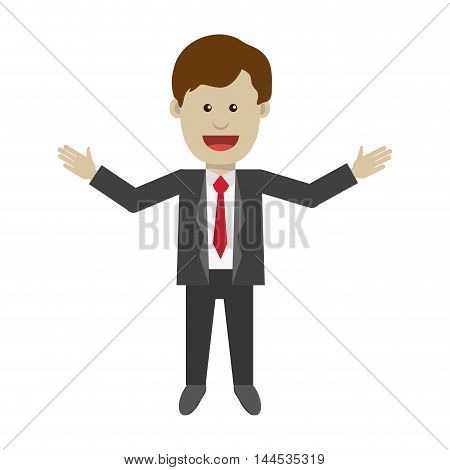 businessman man male cartoon suit icon. Flat and isolated design. Vector illustration