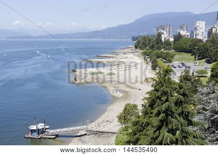 The view of Sunset Beach in Vancouver (British Columbia Canada).