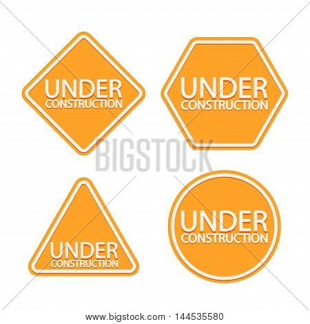 illustration of yellow set of different types of signs with under construction tag