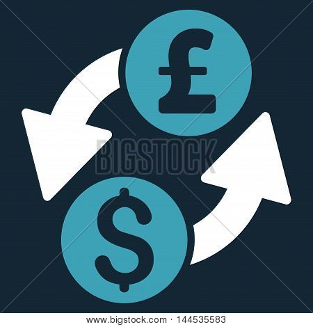 Dollar Pound Exchange icon. Vector style is bicolor flat iconic symbol with rounded angles, blue and white colors, dark blue background.