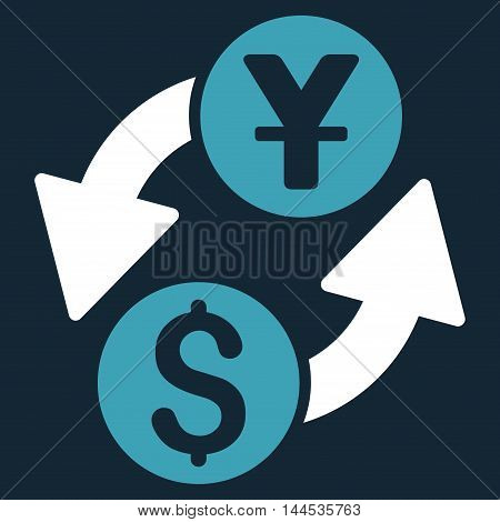 Dollar Yuan Exchange icon. Vector style is bicolor flat iconic symbol with rounded angles, blue and white colors, dark blue background.