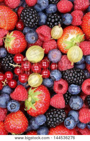 Berry Fruits Fruit Fresh Berries Collection Strawberries, Blueberries Raspberries Background