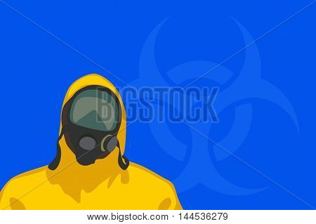 illustration of man in yellow biohazard protective siut with hazardous sign on blue background