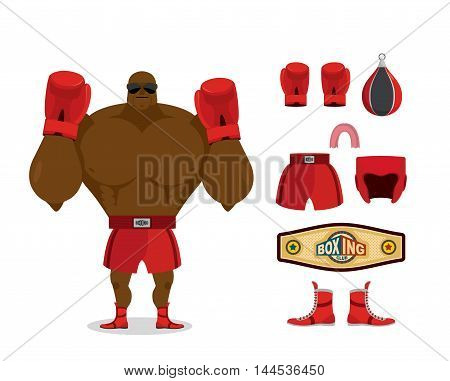 Boxer And Accessory Set. Sportsman Champion. Sport Kit: Boxing Gloves And Cap. Pear And Shorts. Prot
