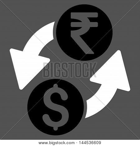 Dollar Rupee Exchange icon. Vector style is bicolor flat iconic symbol with rounded angles, black and white colors, gray background.