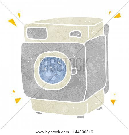 freehand retro cartoon rumbling washing machine
