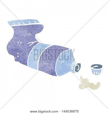 freehand retro cartoon squeezed tube of toothpaste