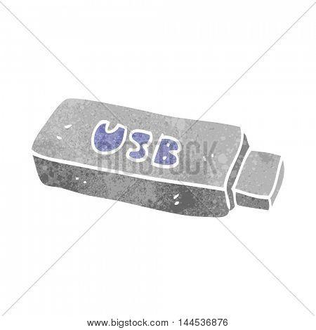 freehand retro cartoon USB stick