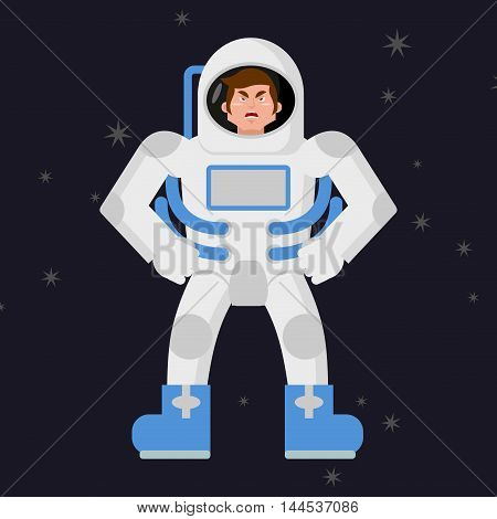 Angry Astronaut. Cosmonaut Disgruntled. Aggressive Man In Space Suit