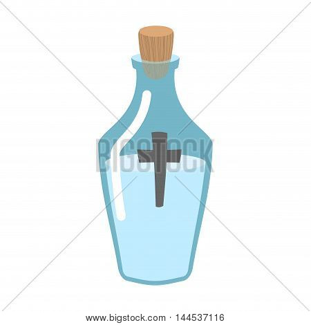 Holy Water Bottle. Glass Flask With Magic Liquid. Magical Potion