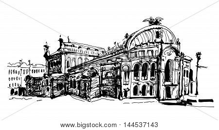 black and white sketch drawing of Ukraine Kyiv national opera and ballet theatre house facade view, sketching for postcard or travel book vector illustration
