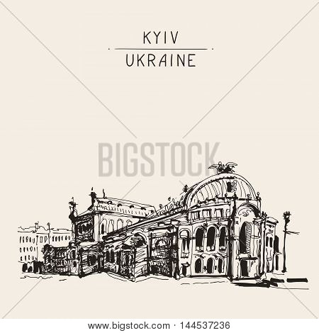 sketch drawing of Ukraine Kyiv national opera and ballet theatre house facade view, sketching for postcard or travel book vector illustration