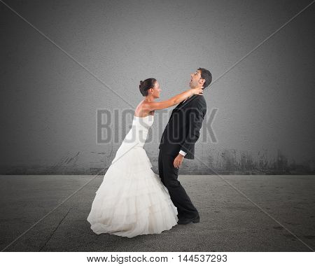 Fury and angry wife strangles frightened groom