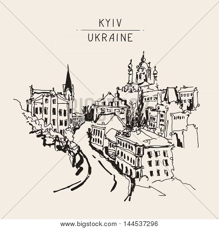 sketch drawing of Andrew's descent - one of the most popular places in Kyiv Ukraine, vector illustration