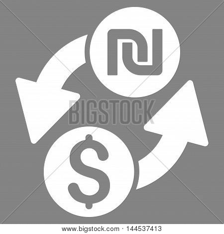Dollar Shekel Exchange icon. Vector style is flat iconic symbol with rounded angles, white color, gray background.