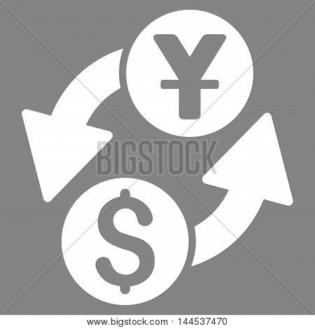 Dollar Yuan Exchange icon. Vector style is flat iconic symbol with rounded angles, white color, gray background.
