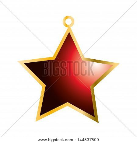 star red merry christmas decoration celebration icon. Flat and isolated design. Vector illustration