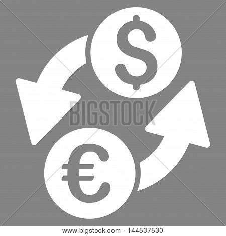 Euro Dollar Exchange icon. Vector style is flat iconic symbol with rounded angles, white color, gray background.