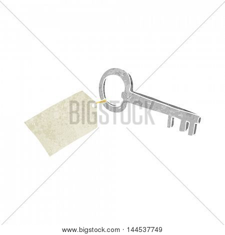 freehand retro cartoon key with tag