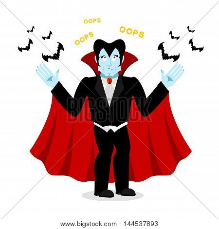 surprised Dracula. Perplexed Vampire Says Oops. Ghoul And Bats