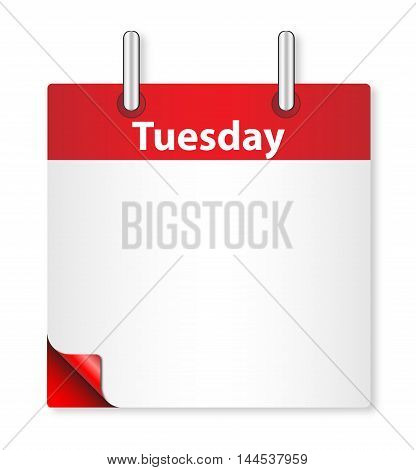 A calender date offering a blank Tuesday page over white