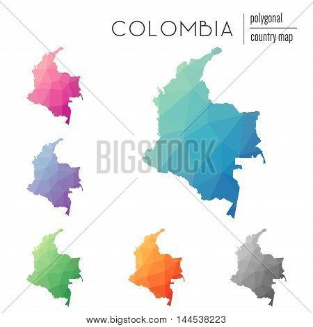 Set Of Vector Polygonal Colombia Maps. Bright Gradient Map Of Country In Low Poly Style. Multicolore