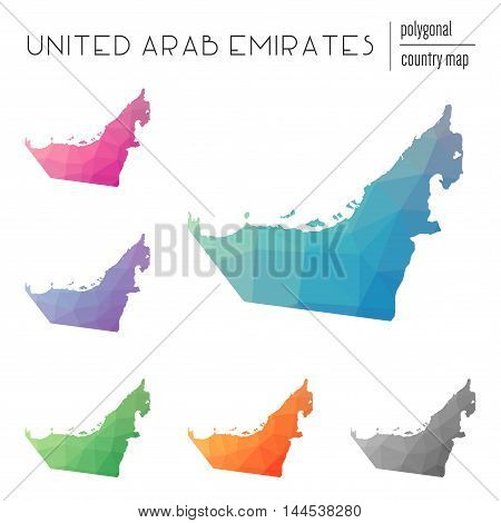 Set Of Vector Polygonal United Arab Emirates Maps. Bright Gradient Map Of Country In Low Poly Style.