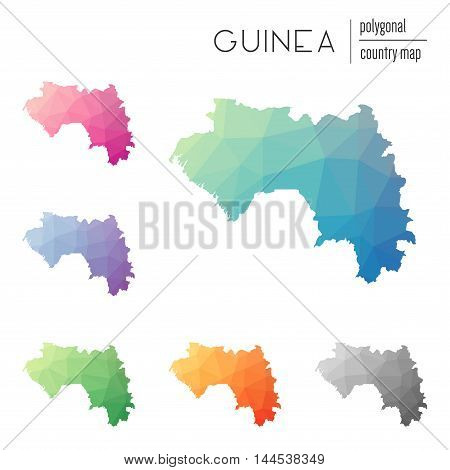 Set Of Vector Polygonal Guinea Maps. Bright Gradient Map Of Country In Low Poly Style. Multicolored