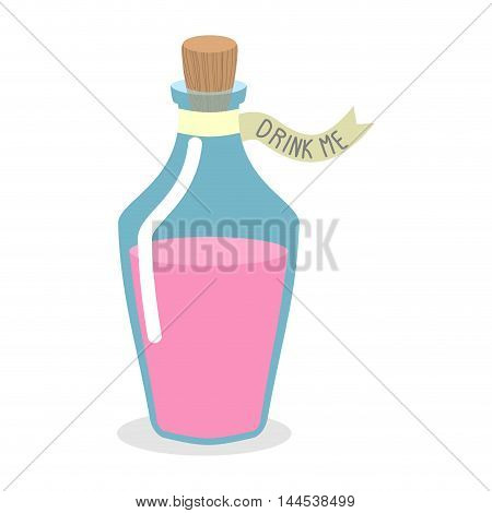 Drink Me Potion. Pinc Magic Elixir In Bottle. Illustration For Alice In Wonderland
