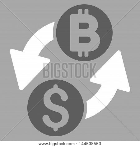 Dollar Bitcoin Exchange icon. Vector style is bicolor flat iconic symbol with rounded angles, dark gray and white colors, silver background.