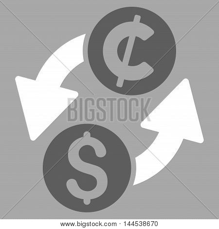Dollar Cent Exchange icon. Vector style is bicolor flat iconic symbol with rounded angles, dark gray and white colors, silver background.