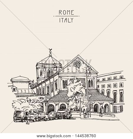 sketch drawing of Rome cityscape, Italy old historical building, vector illustration