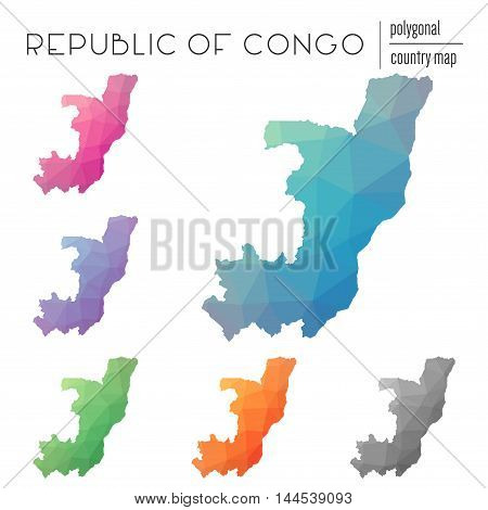 Set Of Vector Polygonal Congo Maps. Bright Gradient Map Of Country In Low Poly Style. Multicolored C