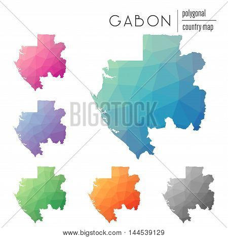Set Of Vector Polygonal Gabon Maps. Bright Gradient Map Of Country In Low Poly Style. Multicolored G