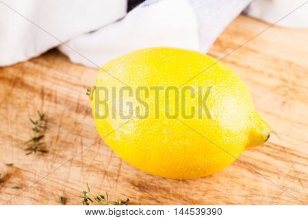 Lemon On Wooden Table