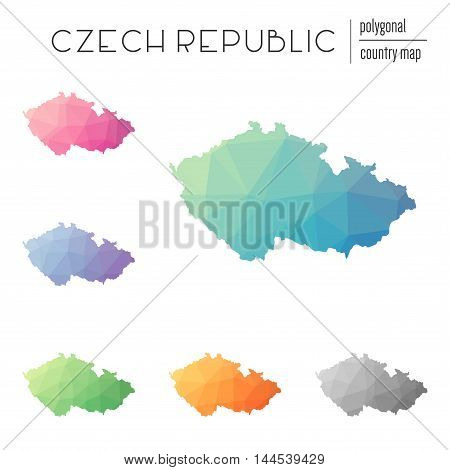 Set Of Vector Polygonal Czech Republic Maps. Bright Gradient Map Of Country In Low Poly Style. Multi