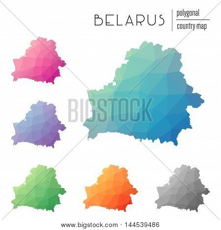 Set Of Vector Polygonal Belarus Maps. Bright Gradient Map Of Country In Low Poly Style. Multicolored