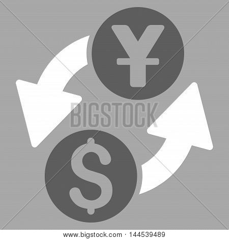 Dollar Yuan Exchange icon. Vector style is bicolor flat iconic symbol with rounded angles, dark gray and white colors, silver background.