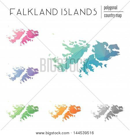 Set Of Vector Polygonal Falkland Islands (malvinas) Maps. Bright Gradient Map Of Country In Low Poly