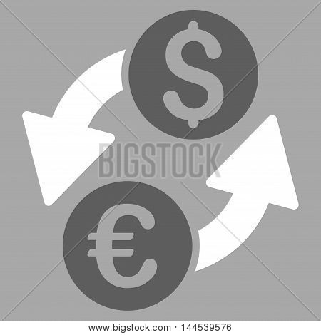Euro Dollar Exchange icon. Vector style is bicolor flat iconic symbol with rounded angles, dark gray and white colors, silver background.