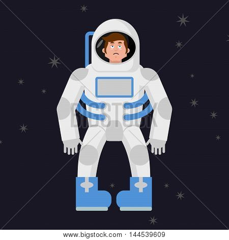 Sad Astronaut In Outer Space. Sorrowful Pessimistic Spaceman. Space Suit