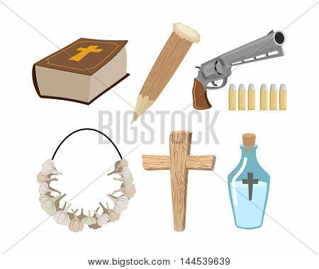 Weapons Vampire Hunter. Tools Against Undead. Garlic And Silver Bullets. Bible And Holy Water. Aspen
