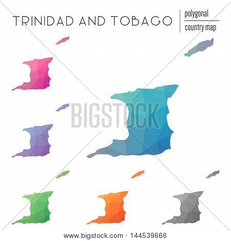 Set Of Vector Polygonal Trinidad And Tobago Maps. Bright Gradient Map Of Country In Low Poly Style.