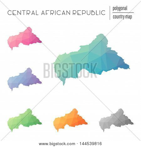 Set Of Vector Polygonal Central African Republic Maps. Bright Gradient Map Of Country In Low Poly St