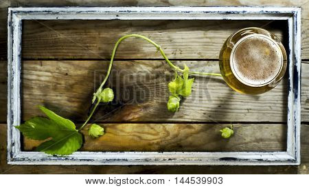 Glass of cold beer with hops in the old frame. On a wooden background